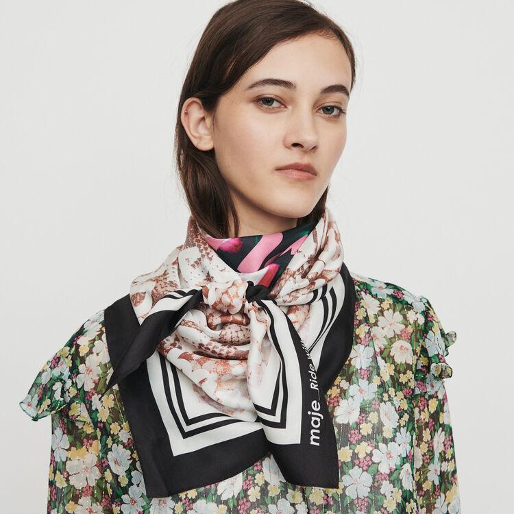 Oversize silk square scarf : Shawls & Ponchos color Multico