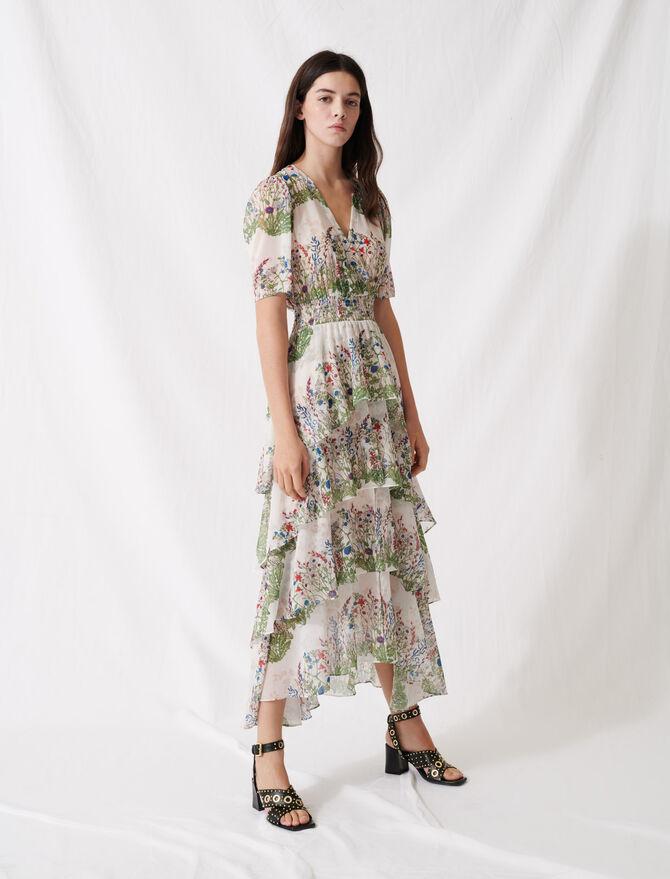 Ruffled printed muslin dress - Summer collection - MAJE