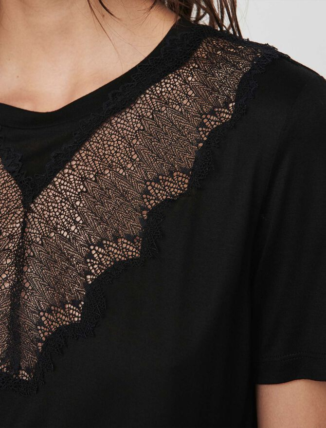 T-shirt with lace trim - T-Shirts - MAJE