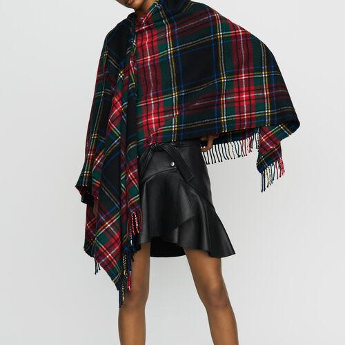 Tartan cashmere poncho : Knitwear color Multico