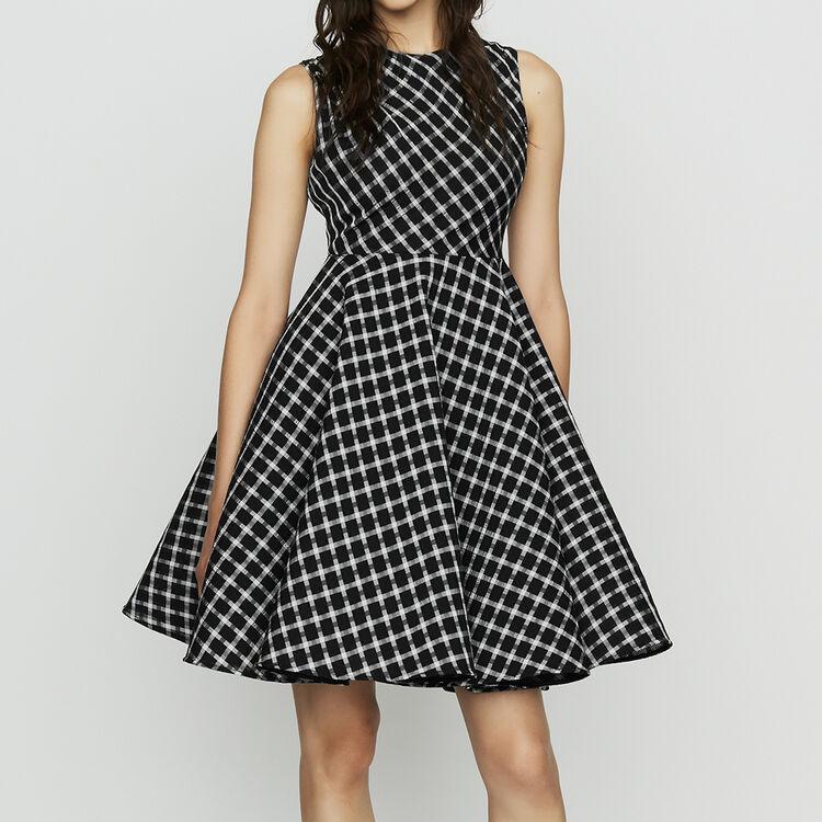 Sleeveless plaid skater dress : Dresses color CARREAUX