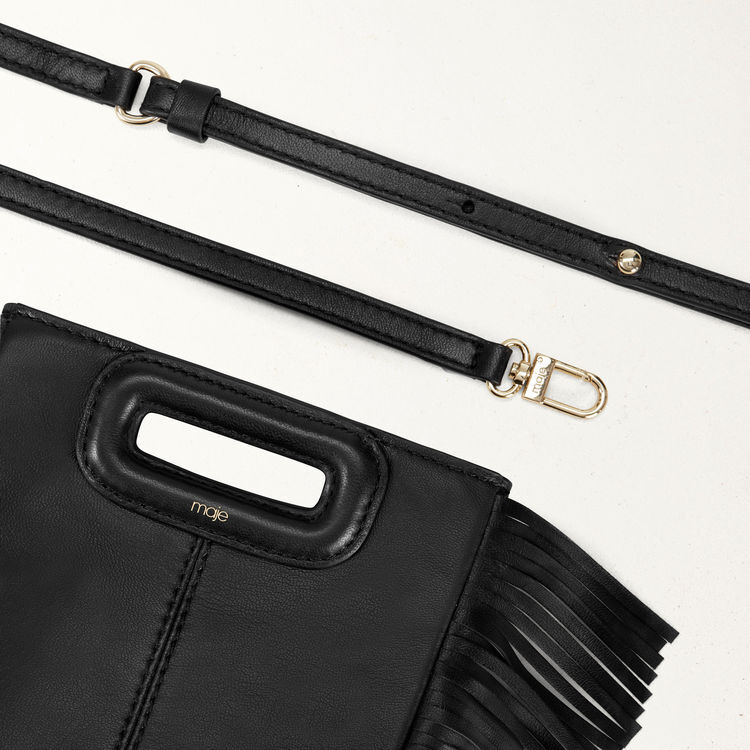 M mini-bag with leather fringes : M Mini color Black 210