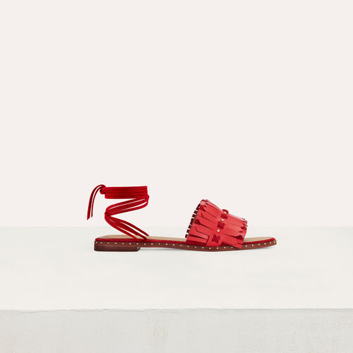 Flat sandals with ties in leather : Flat shoes color Red
