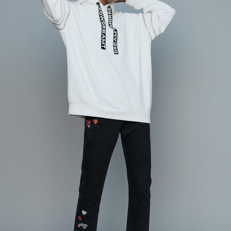 Hooded sweatshirt with zips : Sweatshirts color White