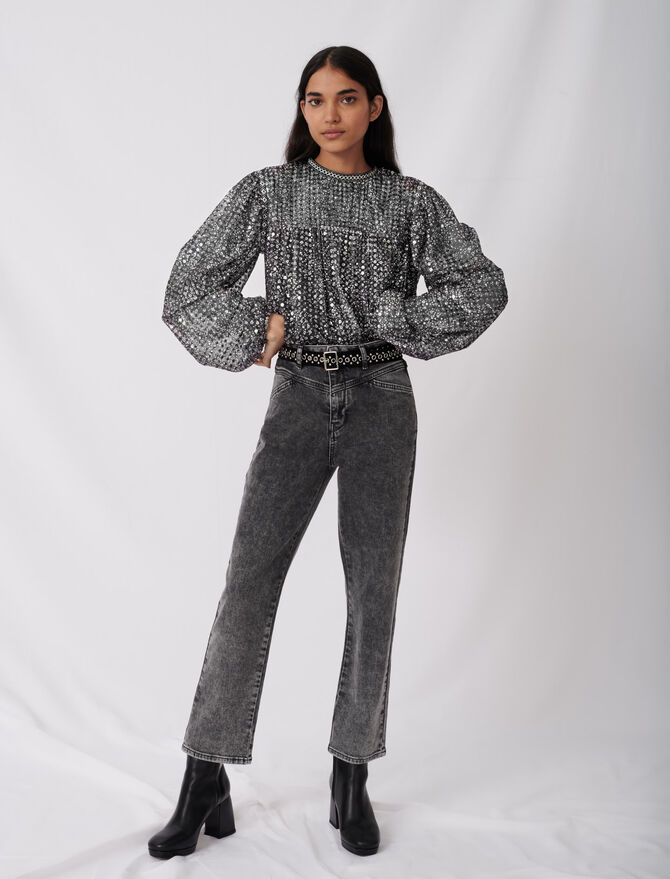 Straight cut jeans with fancy belt - New collection - MAJE