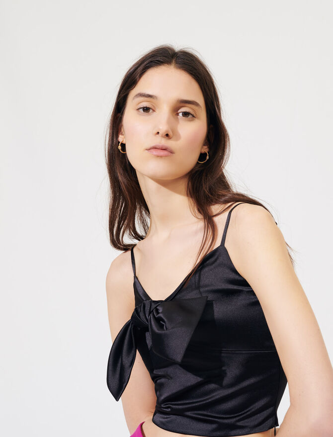 Satin top with large bow - Tops & Shirts - MAJE