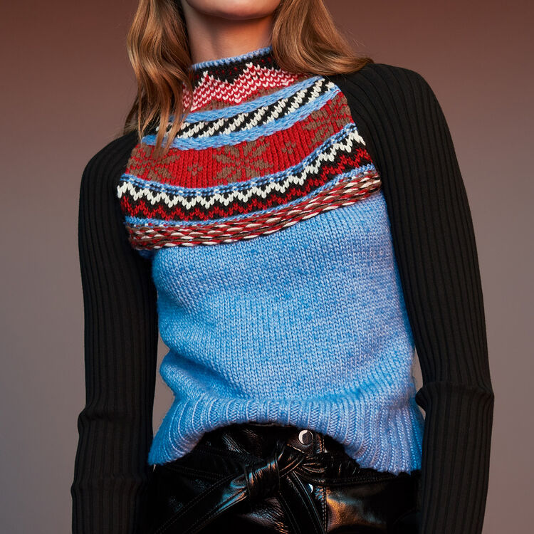 Novelty jacquard knit sweater : Knitwear color Multico