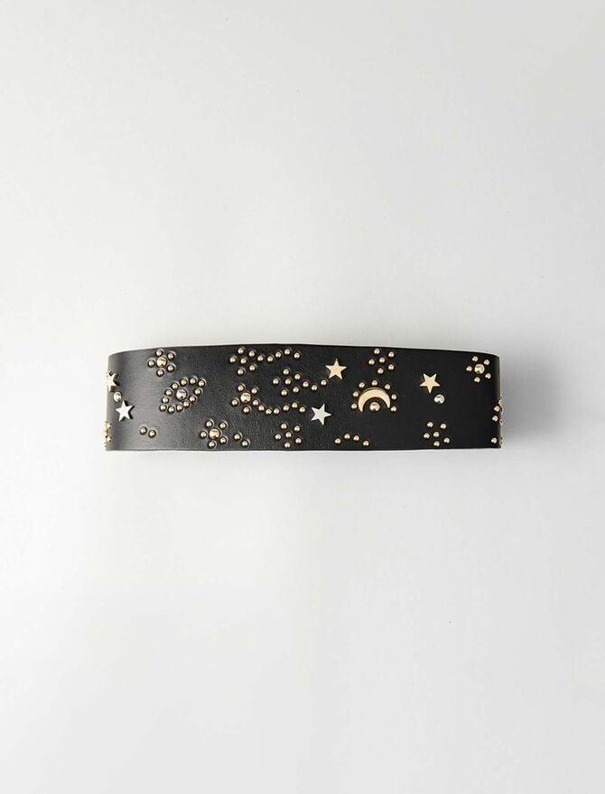 High waisted studded leather belt -  - MAJE