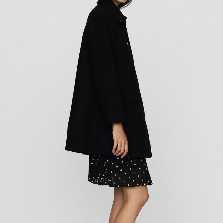 Wool trapeze coat : Coats color Black 210