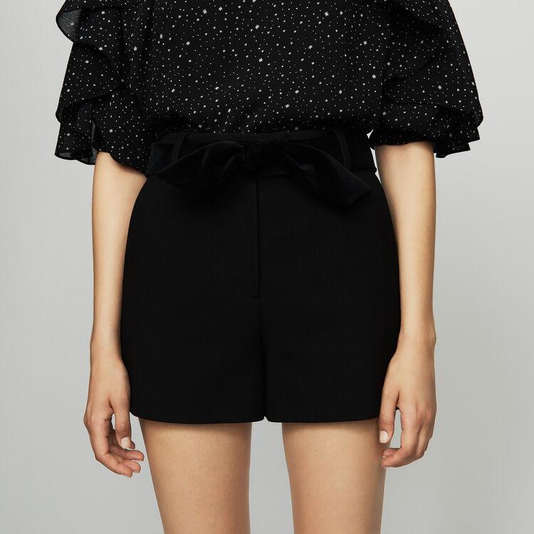 Fancy shorts with satin belt : Skirts & Shorts color Black 210