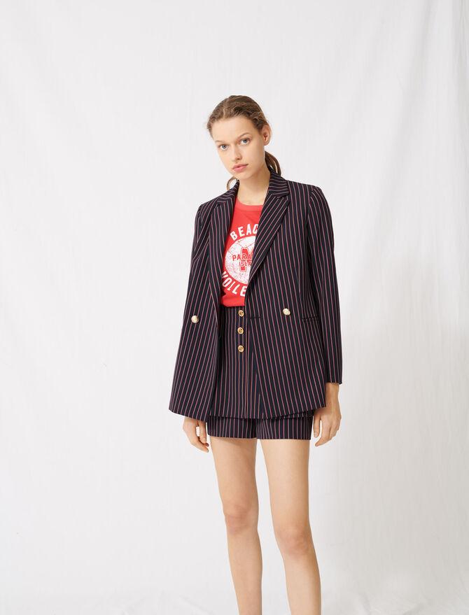 Striped double-breasted jacket - Blazers - MAJE