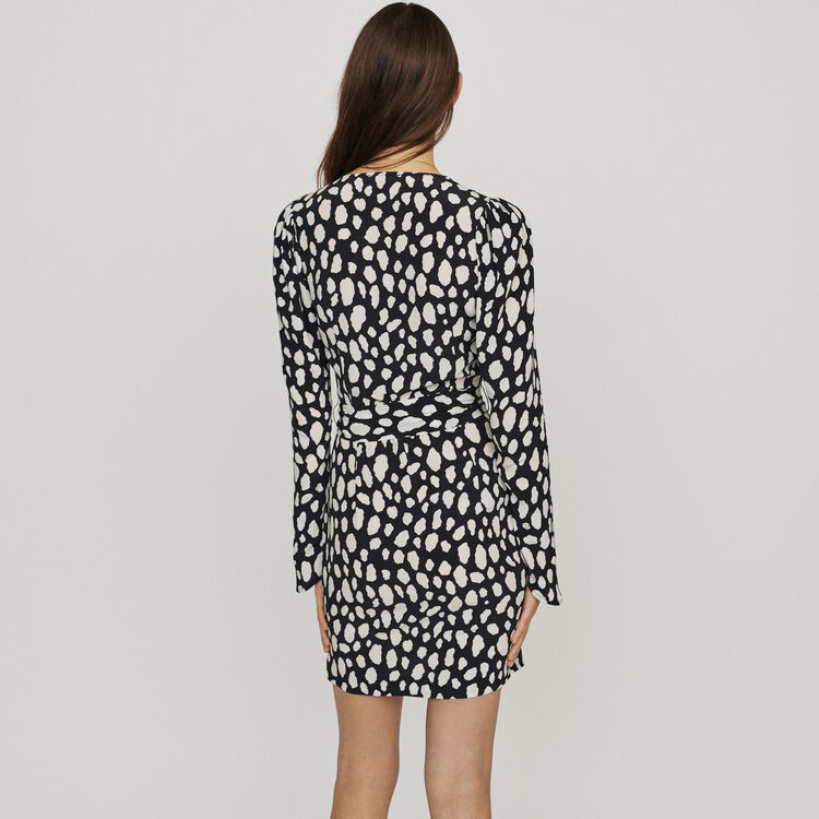 Short gathered printed dress : Dresses color Printed