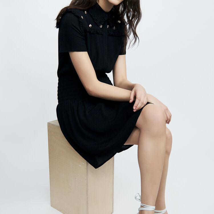 Short dress with bee embroidery : staff private sale color Black 210