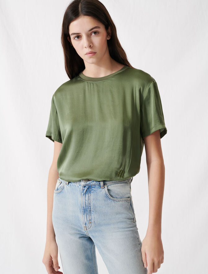 Material mix cotton and silk T-shirt - T-Shirts - MAJE