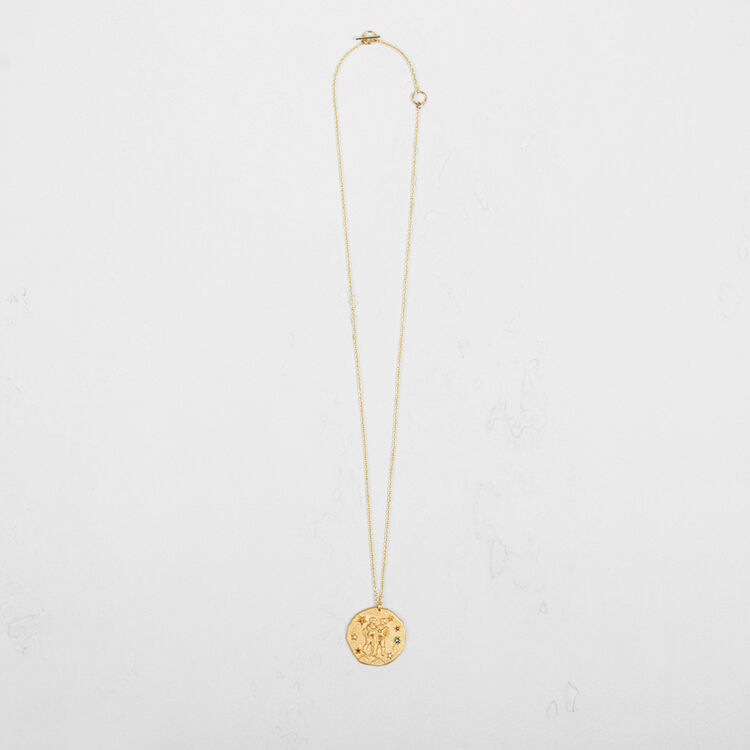 Gemini zodiac sign necklace : Party Wear color GOLD