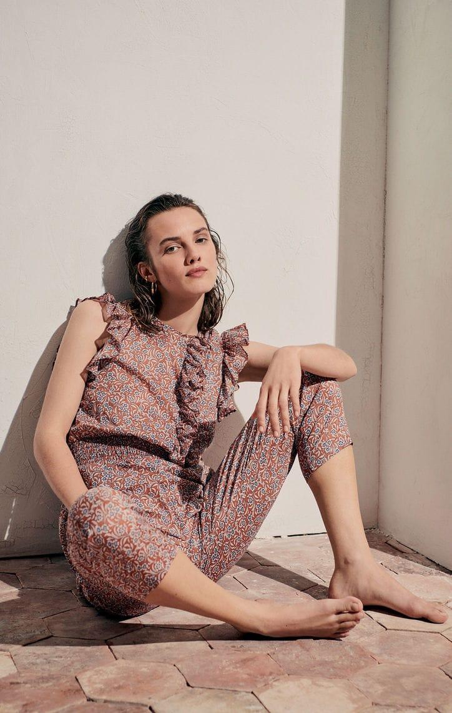 Floral-print cotton voile jumpsuit
