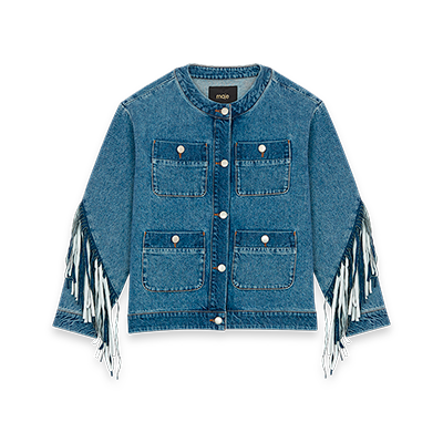 Denim jacket with fringes - Coats & Jackets - MAJE