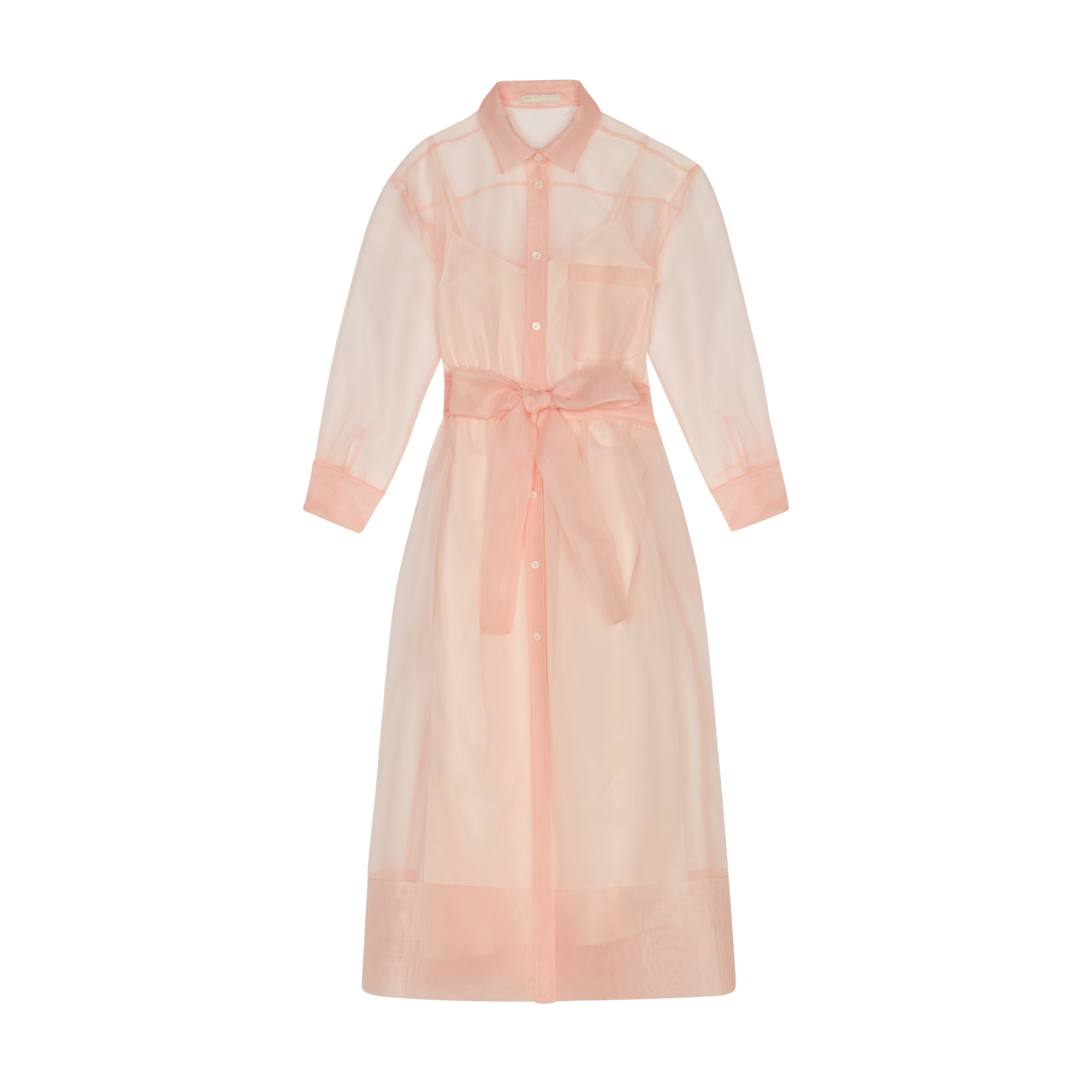 Long organza-style shirt dress - Dresses - MAJE