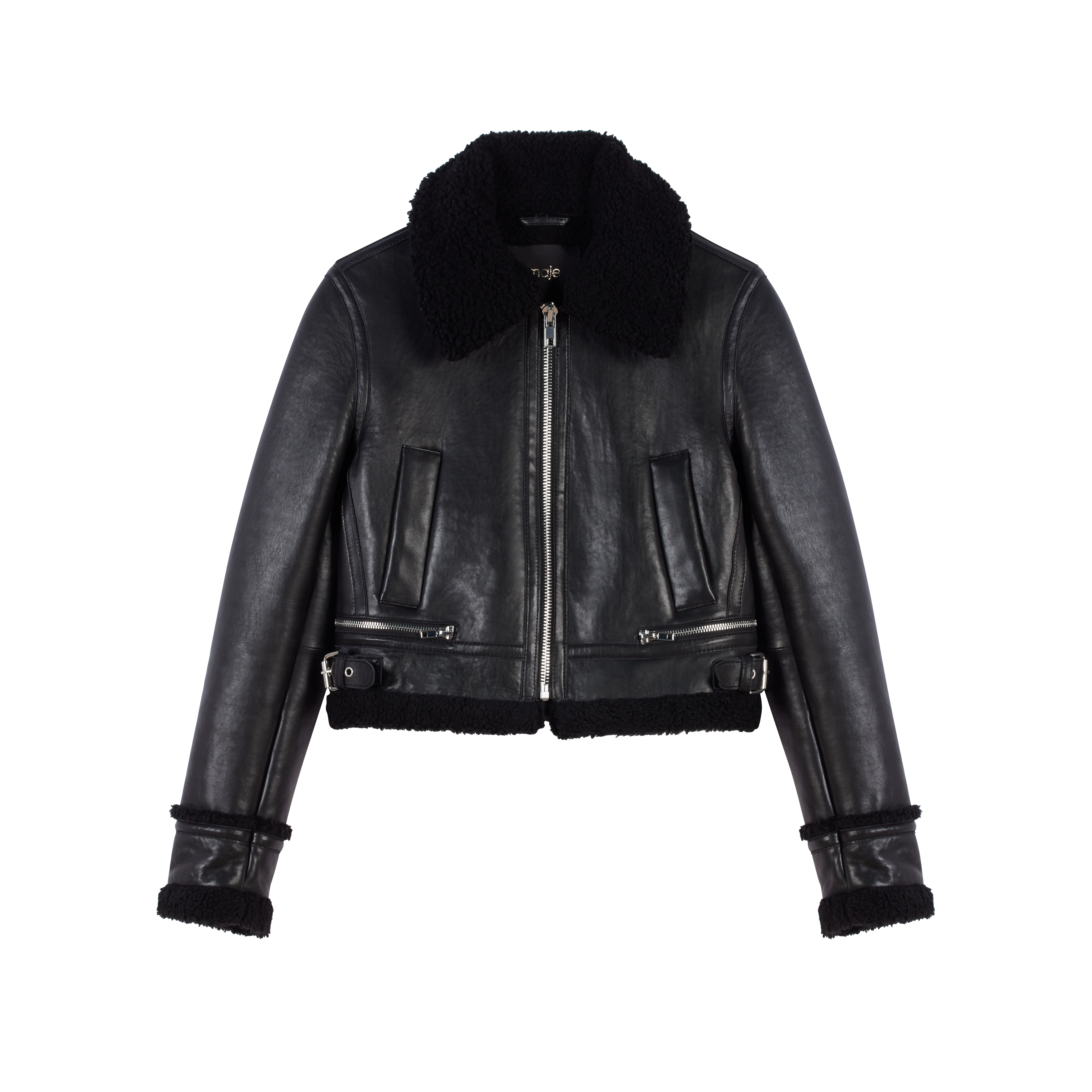 Leather jacket with shearling collar - Coats & Jackets - MAJE